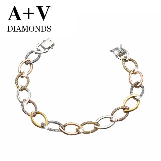 free shipping 18K rose yellow and white gold nature diamond classic luxury bracelet  for women engagement wedding anniversary