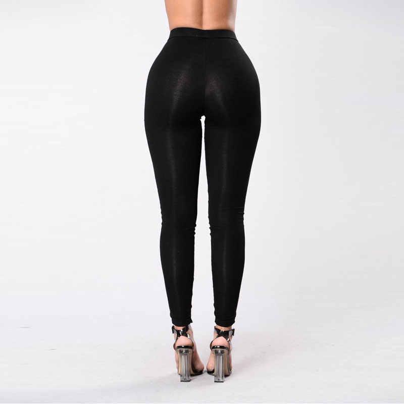 Women Sexy Hole Long Pants Legging Lace UP Skinny Slim Black White Trousers Female Cross Tie Elastic Pencil Pants Ladies