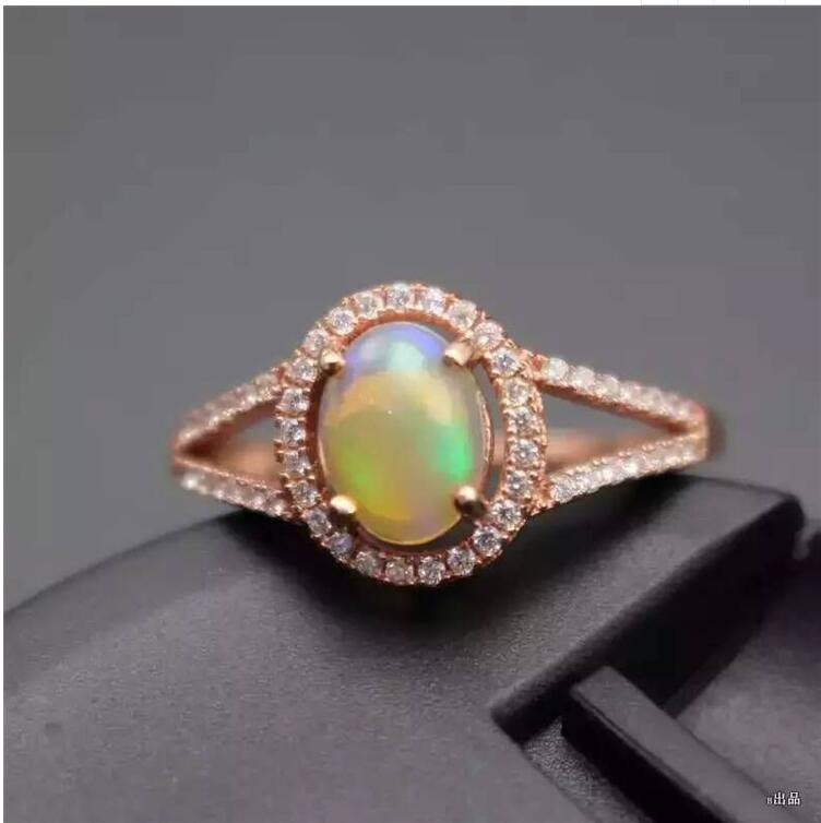 Natural OPal ring Fashion Ring REAL S925 sterling silver inlaid Natural OPal ring 6*8mm sweet faux opal inlaid kitten shape ring for women