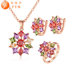 FYM Brand Ring Size 7-8 Rose Gold Color Colorful Zircon Necklace Earring Set High Quality Cubic Zirconia Women Jewelry Sets blucome brand design rose gold color square cubic zircon ceramic earrings ring set chinese porcelain women wedding jewelry sets
