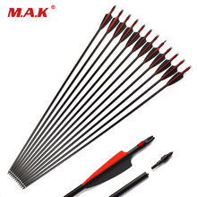 Archery 30 Mixed carbon Arrows  Fletching 7.8mm For Recurve/Compound bow Hunting
