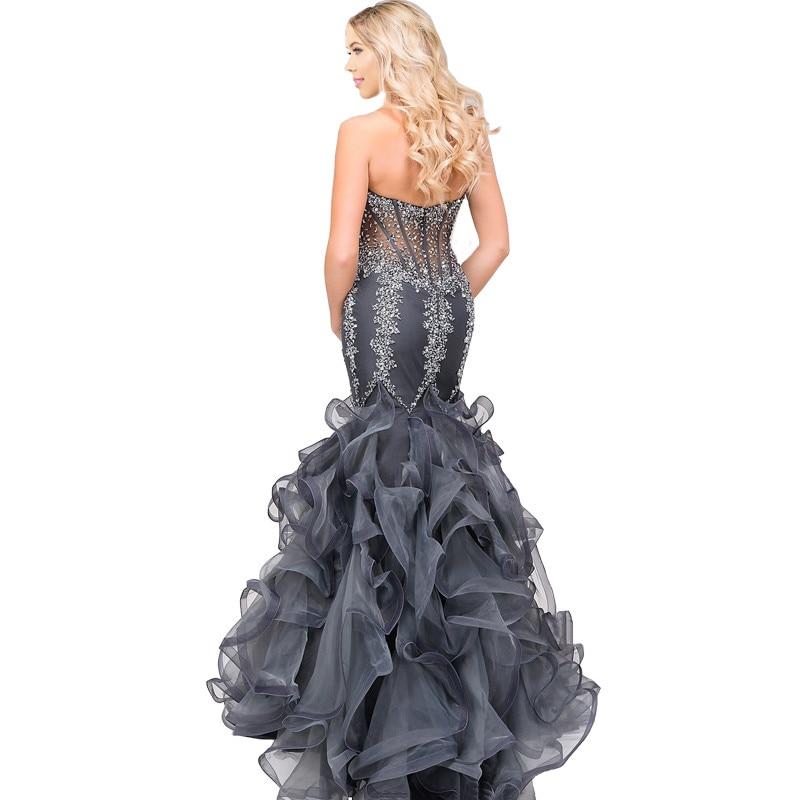 Sexy Cinza Mermaid Prom Dress Com o Crystal Beading Querida Off The Shoulder Varrer Train Prom Vestidos de Festa Vestido Formal Vestidos - 2