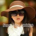 Summer Sun Beach Hats For Children Wide Brim Kids Straw Floppy Hats Girls Sombrero Free Shipping BGXS-001R