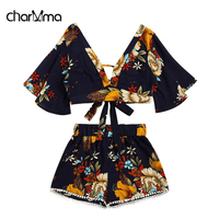 CharMma Floral Plunging Neck Cropped Top And High Waisted Lace Trim Shorts Women Clothes Casual Two