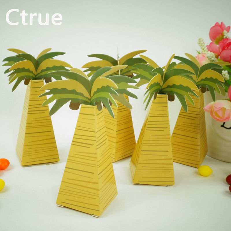 20pcs wedding favor box candy boxes coconut Palm Tree baby shower favor box wedding favors and gifts baby shower souvenirs