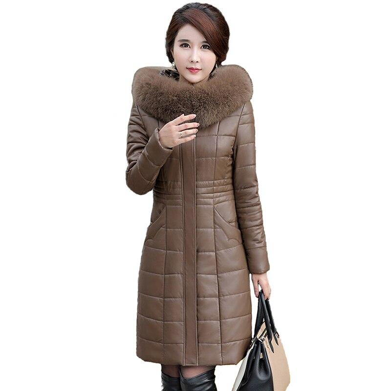 2018 Winter Leather Down jacket Women Sheepskin Coat Plus size L 8XL Hooded Parkas Female Thick