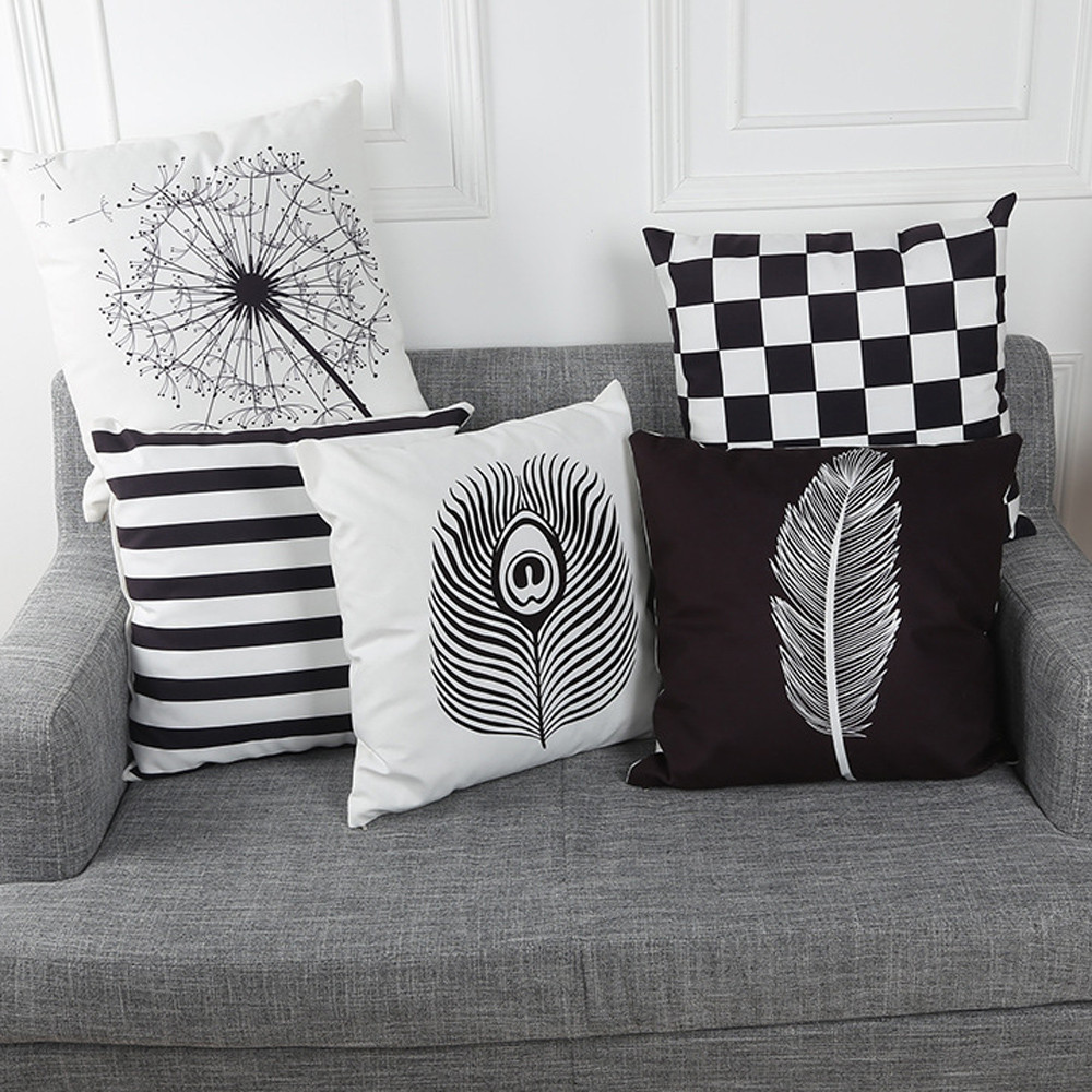 Black And White Decorative Pillow Cases : Aliexpress.com : Buy Black and White Style Stripe Lattice Pillow Cases Super Cashmere Decorative ...