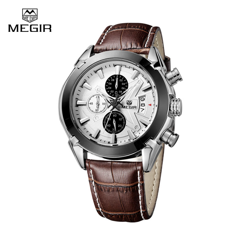 Fashion Leather Watchband Quartz Watch Men Megir Brand Waterproof Luxury Sport Mens Wrist Watches Army Style Montre Homme