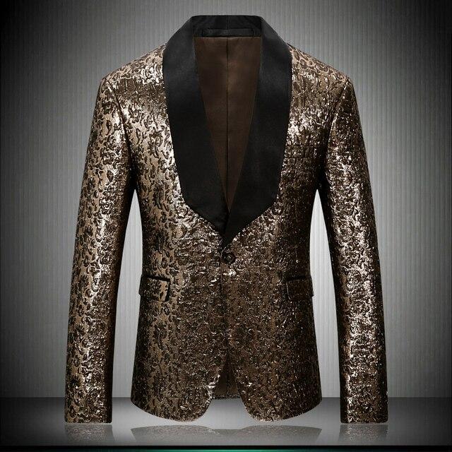 2018 New Men Fashion Gold Slim Blazers Nightclub Male Singer Stage Costumes DJ host Club Jacket