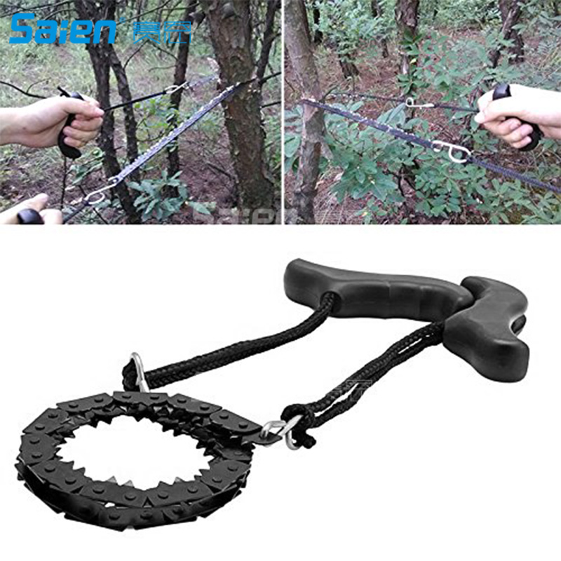 Camping Hand Chain Saws, Long Outdoor Survival Chainsaw Portable Carring Folding Pocket Hand Saw for Camping Hiking Gardening
