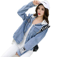 2019 Autumn and Spring New College Wind Loose Long Sleeve Denim Jacket Women Casual Cotton Sweet Denim coat G229