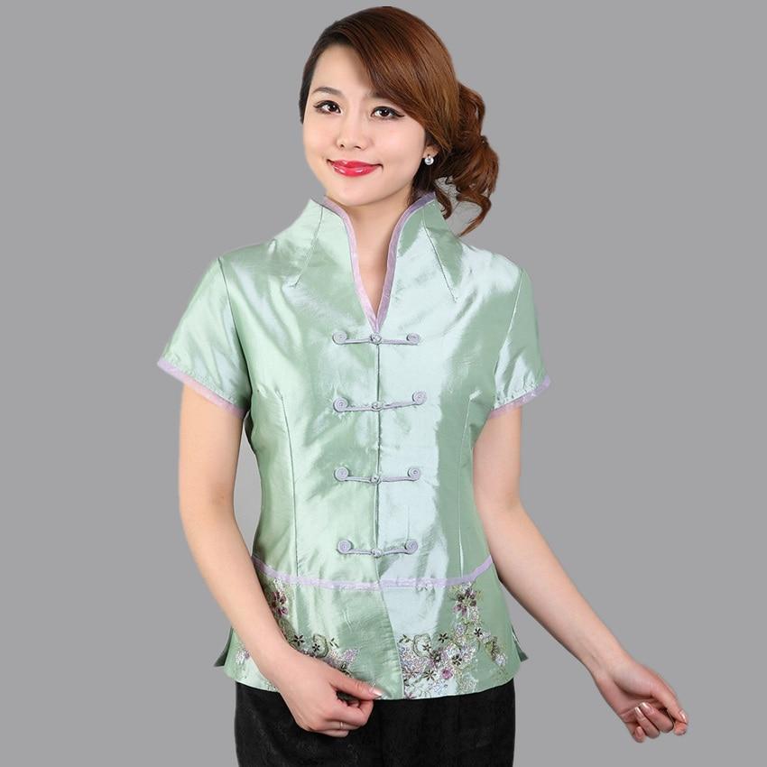 Luz verde de estilo chino tradicional Camisa con cuello en v clásico mujeres sat