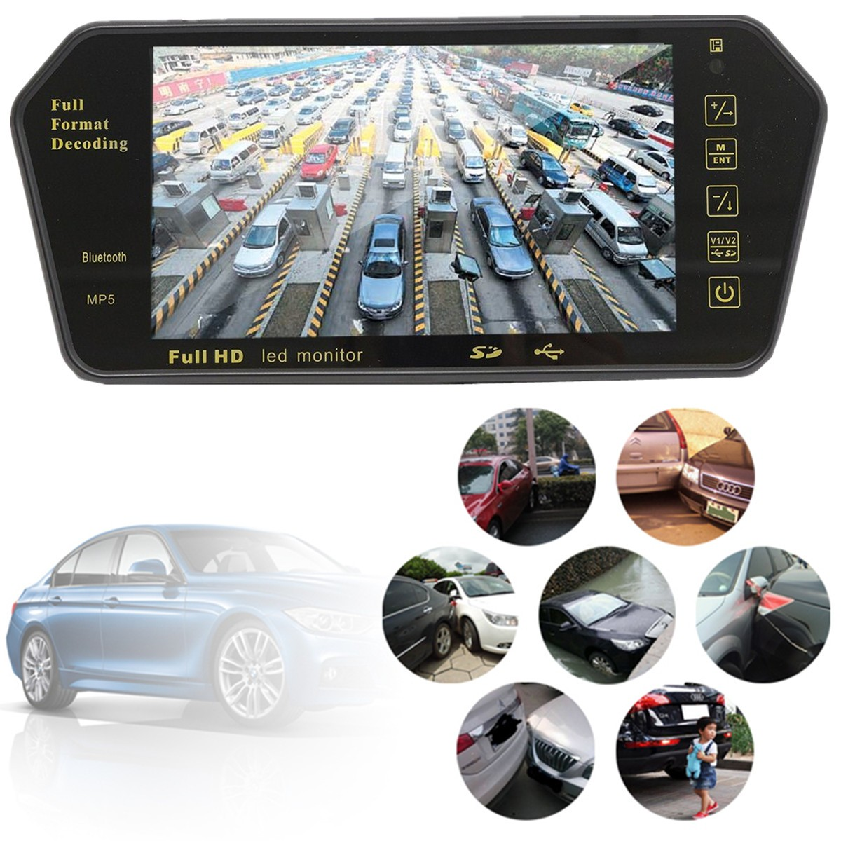 7 Inch Bluetooth TFT LCD Color Mirror Monitor Viedo MP5 Player For Car Auto Rearview Monitors Backup Reversing Vehicle Camera
