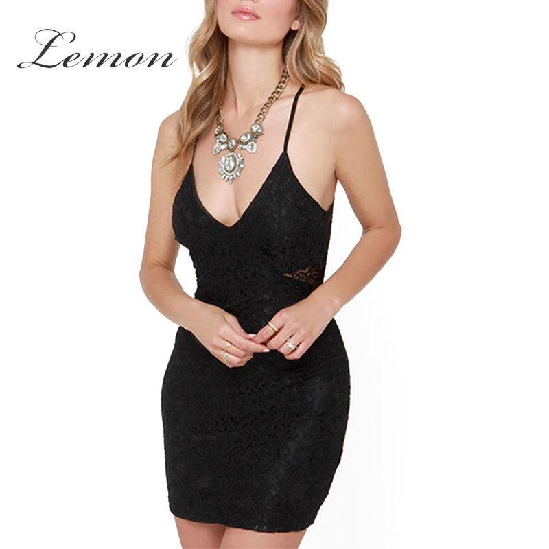 Lemon Lace Deep V Neck Back Zipper Sexy Mini Dress Hollow Out Backless font b Cami