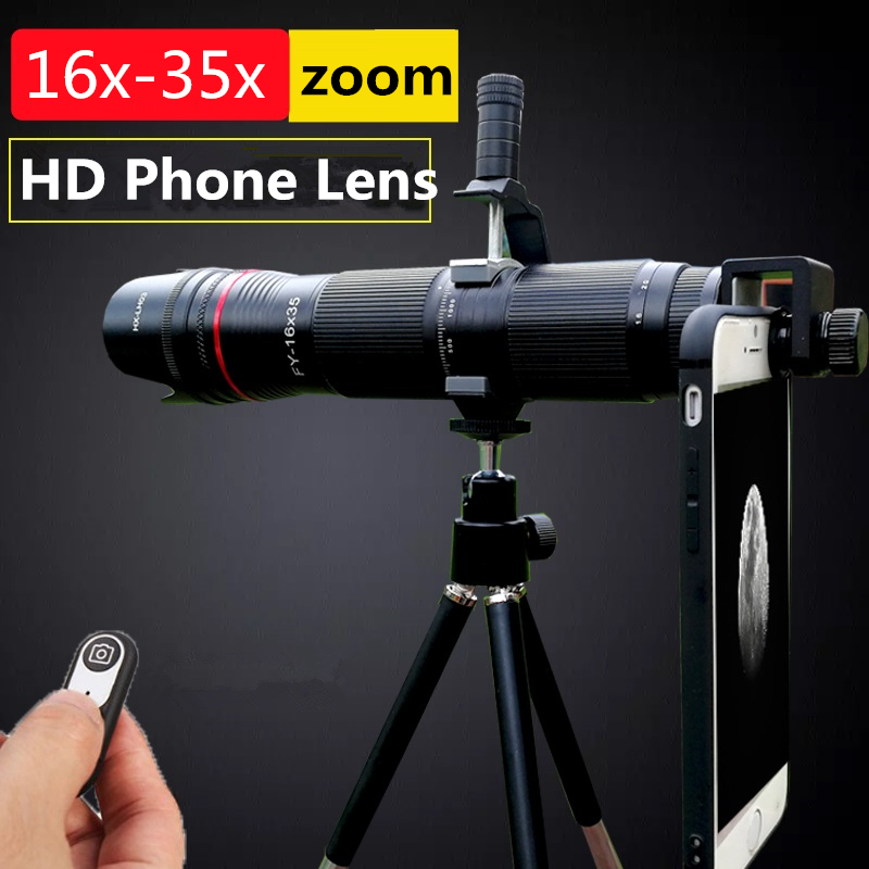 4K HD 16X To 35X Telescope Mobile Phone Camera Zoom Lens 3 Section Adjustable Telephoto Lenses for iPhone Samsung Smartphone