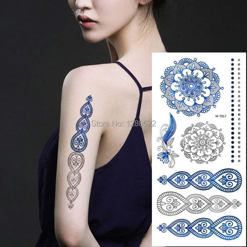 2pcs Vintage Temporary Tattoo Flash Blue Silver Metallic Tattoo Body
