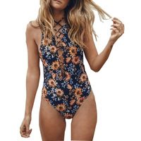 Floral Print Sexy One Piece Swimwear Women Push Up Swimsuit String Bandage Bathing Suit Beach Wear