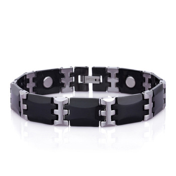 Black Charm Ceramic Tungsten Steel Energy Power Magnetic Link Bracelets for Women Rose Gold color