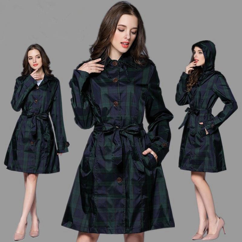 Lungo verde lattice impermeabile donne con cintura, impermeabile cappotto pioggia poncho giacche femminile Chubasqueros impermeabili Mujer