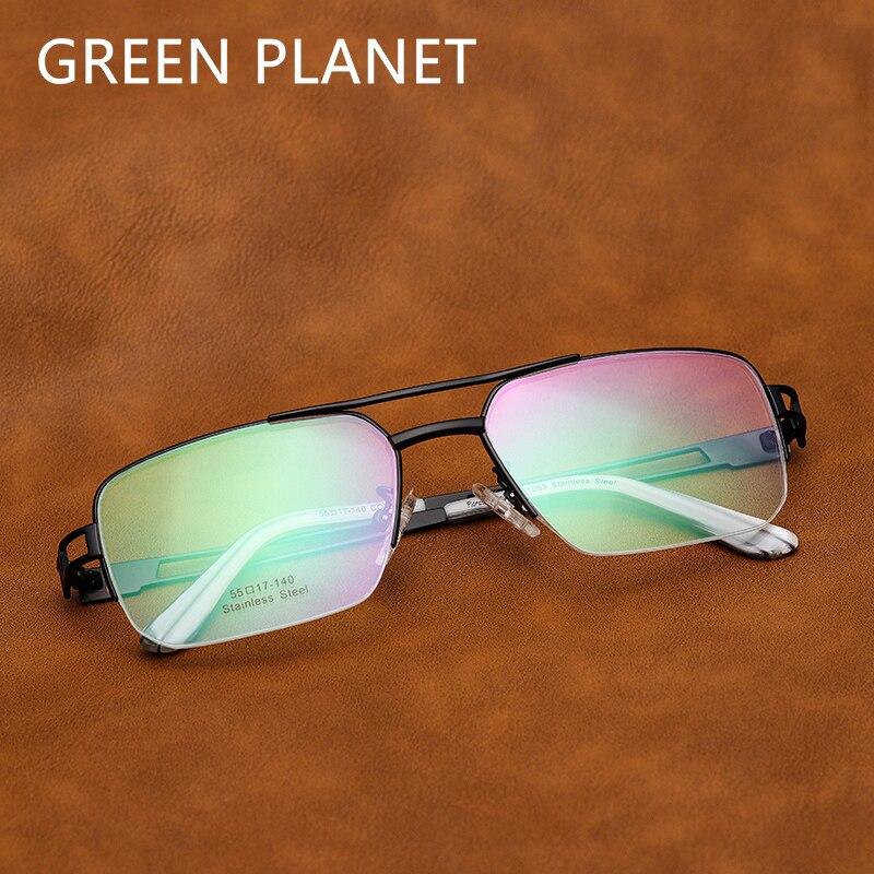 Stainless Steel Men Glasses Frame Fashion Double Bridge Half Rim Oversized Computer Clear Frame Optical Eyeglasses #FV1003