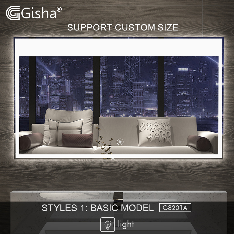 Symbol Of The Brand Gisha Smart Mirror Led Bathroom Mirror Wall Bathroom Mirror Bathroom Toilet Anti-fog Mirror With Touch Screen Bluetooth G8201 Attractive Appearance Home Improvement