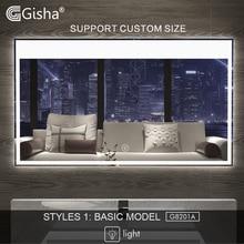 Gisha смарт-зеркало светодиодный ванная зеркало для ванной комнаты ванная туалет анти-противотуманное зеркало с сенсорным экраном Bluetooth G8201