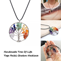 Wisdom Tree Necklaces 7 Chakra Tree Of Life Quartz Chip Pendant Leather Necklace Women Jewelry Christmas Gift Amethyst Necklace
