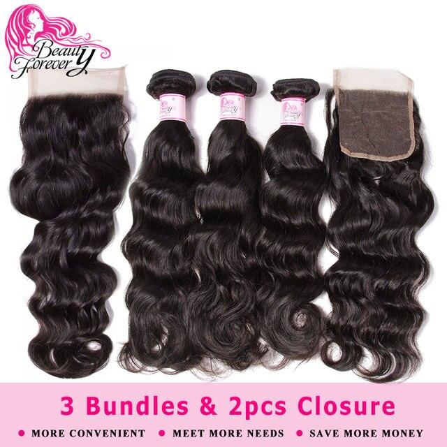 Beauty Forever Natur Wave Brazilian Hair Weaves 3 Bundles With 2pcs Closures 4*4 Same Part Remy Human Hair Bundles With Closure 1
