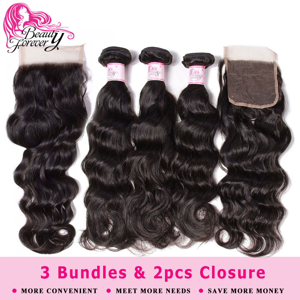 Beauty Forever Natur Wave Brazilian Hair Weaves 3 Bundles With 2pcs Closures 4*4 Same Part Remy Human Hair Bundles With Closure