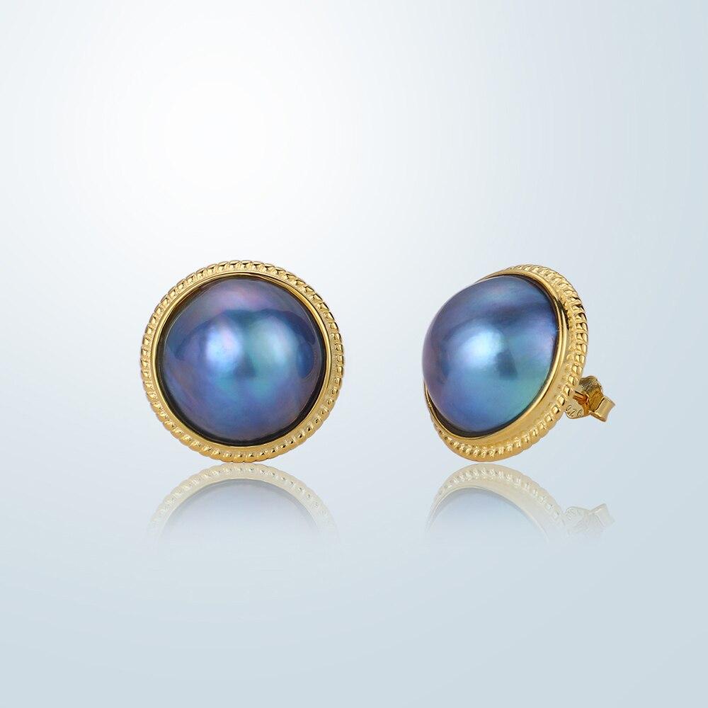 Elegant Natural Freshwater Pearl Earrings 13 14mm Round Blue Pearl Stud Earrings S925 Silver Big Mabe Pearl Earrings For Women