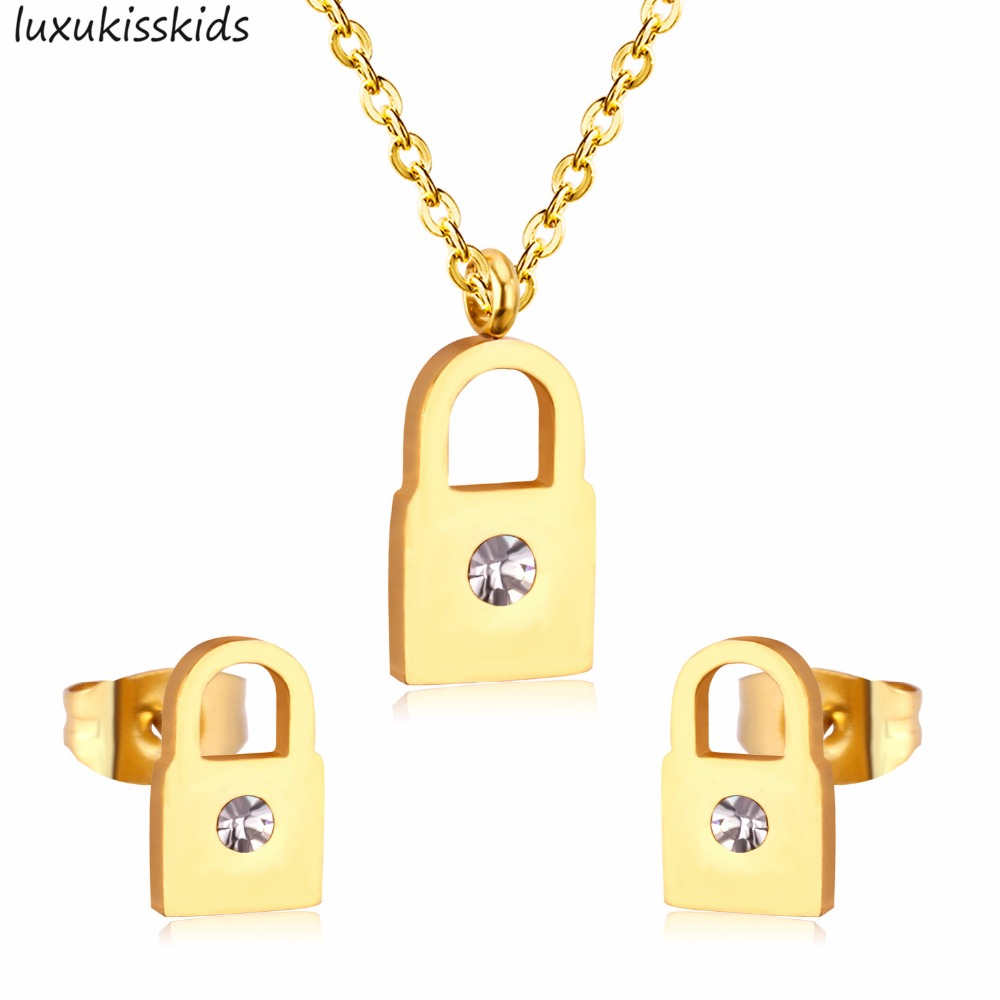LUXUKISSKIDS Pendant Necklace Earring Jewelry-Sets Stainless-Steel Women Gold-Color Key