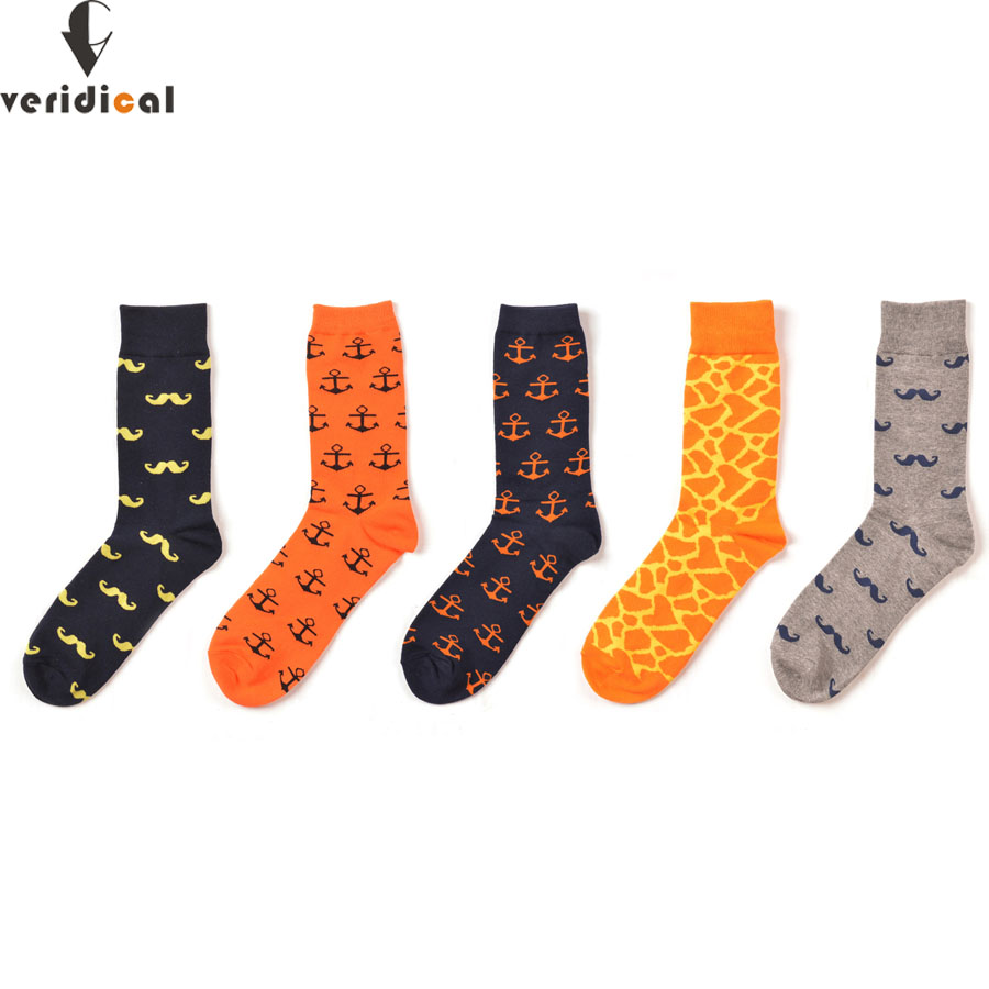 VERIDICAL Mens Funny Colorful Combed Cotton Socks Moustache Casual Happy Socks Dress Wedding Socks good quality 5 Pairs/lot