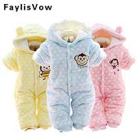 Autumn Winter Baby Romper Infant Thicken Clothes Monkey Fleece Overalls For Newborn Hooded Pajama Boy Girl