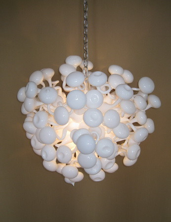 White Glass Wedding Chandelier Led Light Source Dale Chihuly Style Hand N Ball