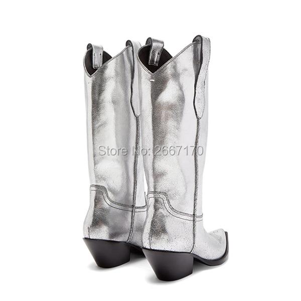 Argent Femmes Bout Slip Talon On Empilés Bottes Blanc Pic Cuir Superbe As boy Western Pointu Cubain Noir Femme Pic Cow De as Chaussures En Élégant wzCqOa