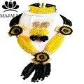 2017 Clásico de Nigeria beads africanos Boda joyería conjunto amarillo Crystal collar pulsera pendientes Envío gratis P-1965