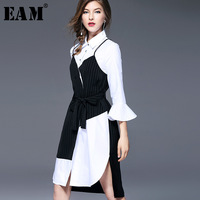 EAM 2018 Spring New Fashion Black White Stiching False Two Piece Shirt Collar Irregular Hemline