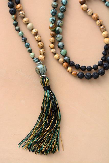 Necklace: Mala Natural Stone Lava Beads Long Tassel