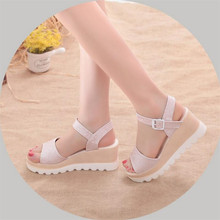 Summer womens sandals new muffin thick bottom wedge with waterproof platform student buckle a button female