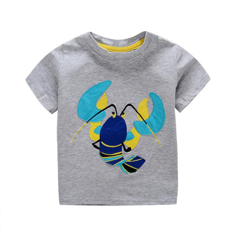 6a08595cd9763 1-6Y Enfants D été de t-shirt Mignon Écrevisses Appliqued Garçons T-shirts  Bébé Vêtements Enfants Filles Langoustine T-shirts À Manches Courtes.