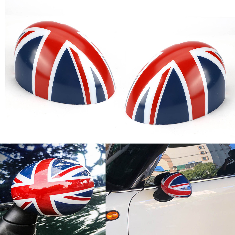 TAIHONGYU Pair Grey Red Union Jack Door Rear View Mirror Covers Stickers Car-styling Decoration for BMW Mini Cooper R55 R56 R60 mini car rear door handle decoration moulding cover smooth surace union jack grey uk checkered for mini cooper clubman f54