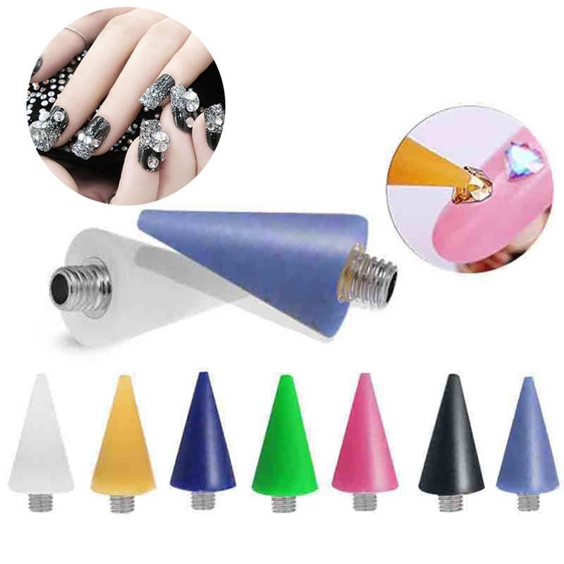1pc Replaceable Nail Dotting Wax Pencil Head Beads Rhinestones Gems Picker Self-adhesive Nail Tips Picking Tool For Dotting Pen