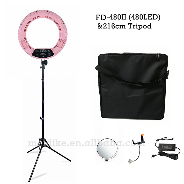 Yidoblo Pink FD-480II 18 Dimmable LED Ring lamp Kit 480 LED Studio Video Light Lamp Photographic Lighting + stand (2M)+Soft bag
