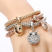 3pcs/Set Owl Bracelets For Women Multi Layered Charms Bracelet Set Fashion Animal Pendant Bracelet Jewelry for Best Friend vintage layered owl beads bracelet for women