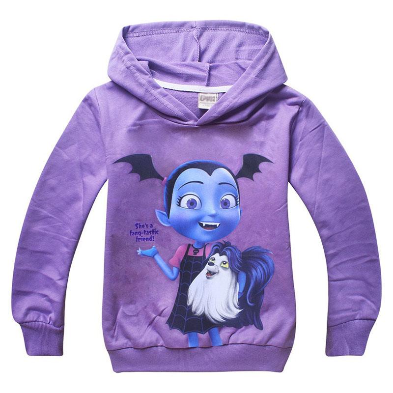 Kid Girls Autumn Purple Cartoon Vampirina Sweatshirt Child Thin Cotton Shirt Hooded Coat Fancy Pullover Hoodie For Little Girls