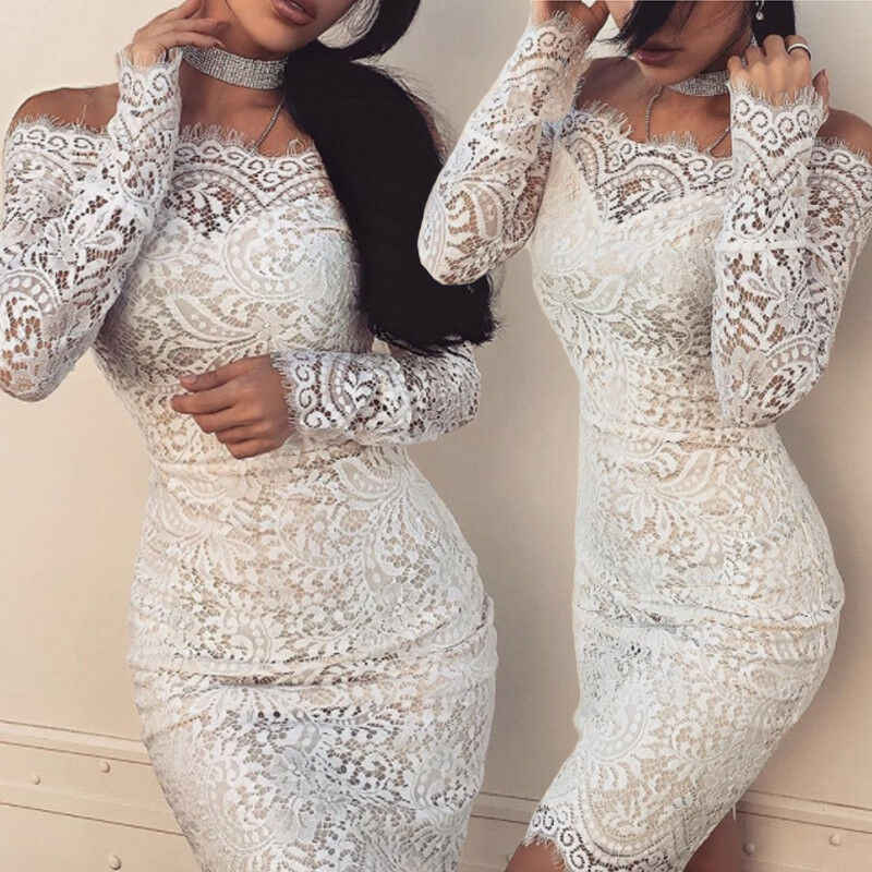 2019 Fashion Wanita Fashion Wanita Elegan Lengan Panjang Renda Bunga Off-Shoulder Gaun Bodycon Slim Putih Kasual Mini Gaun Panas