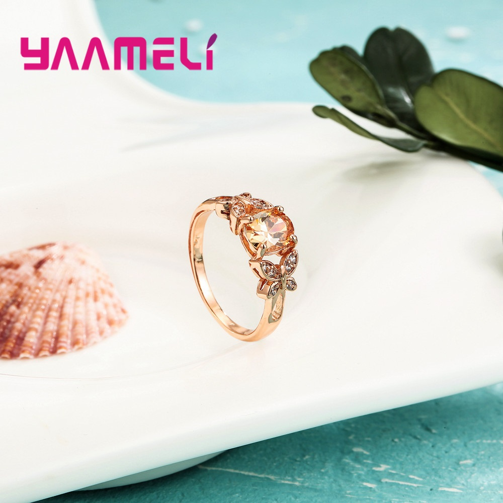 Wholesale Micro AAAA Prong Setting Cubic Zirconia Finger Rings For Women Female Crystal Jewelry Present Rose Gold Color 2