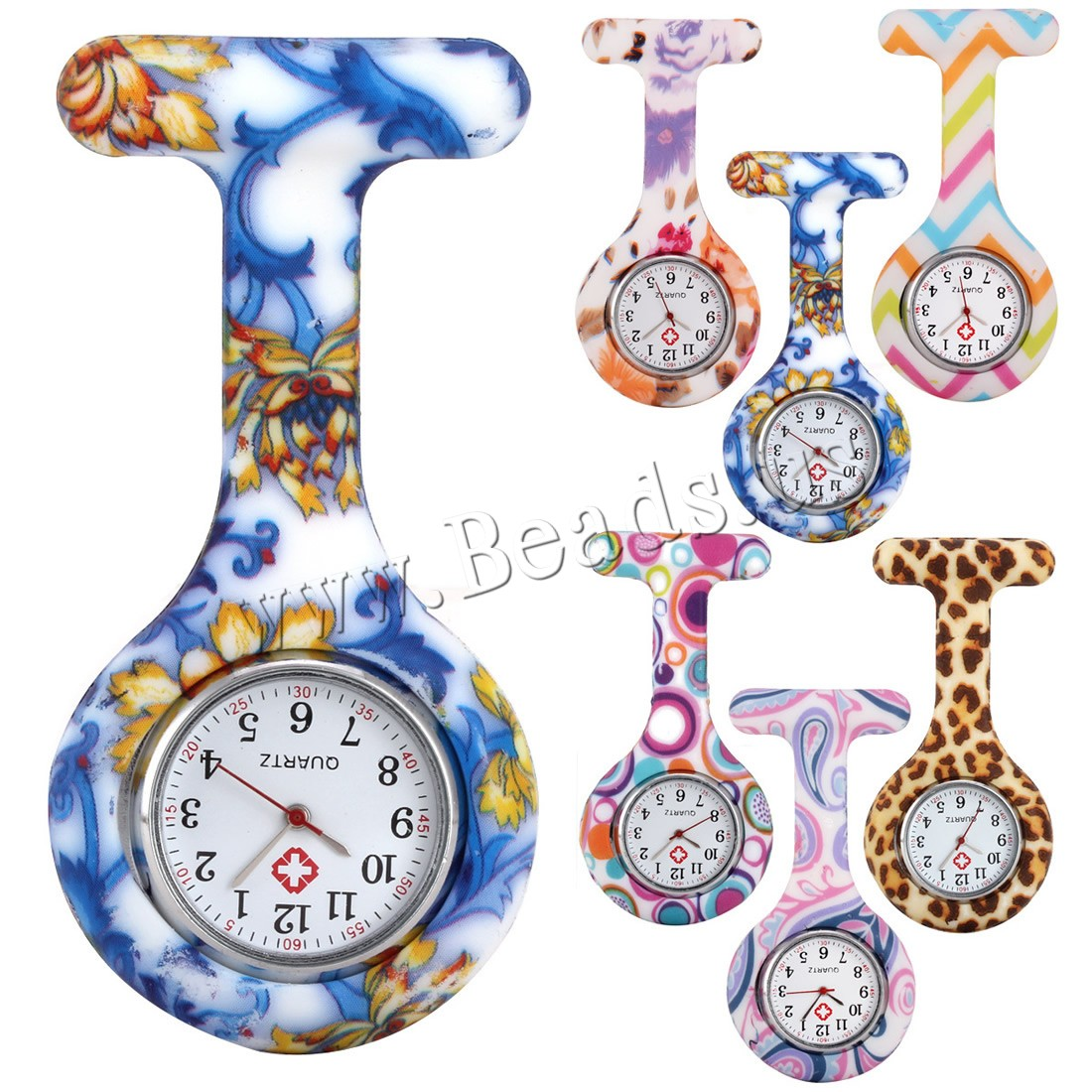 Nurse Watches Fashion Colorful Silicone Medical Portable Brooch Fob Pocket Quartz Watch Hanging Pendant With Clip Gift 6 Styles