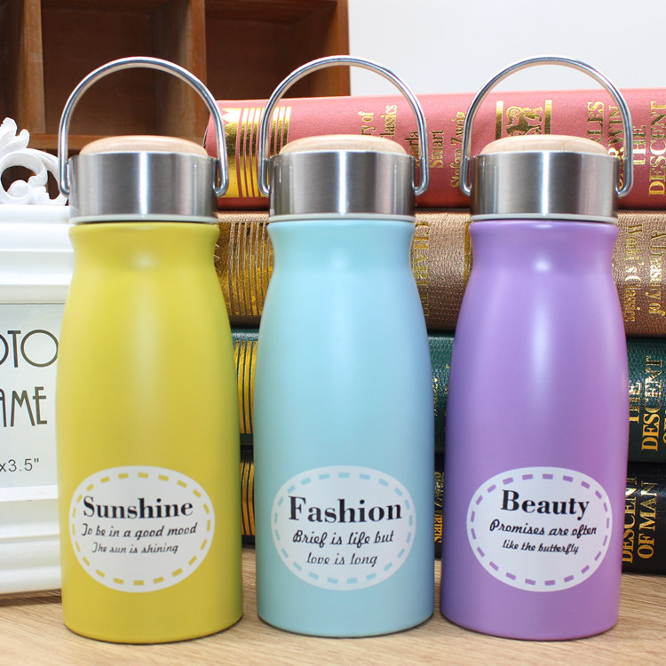 Fashion Creative Stainless Steel Simple Thermos wood cover Cup My cups portable Termos Hrnek termo voda termoska 300ml