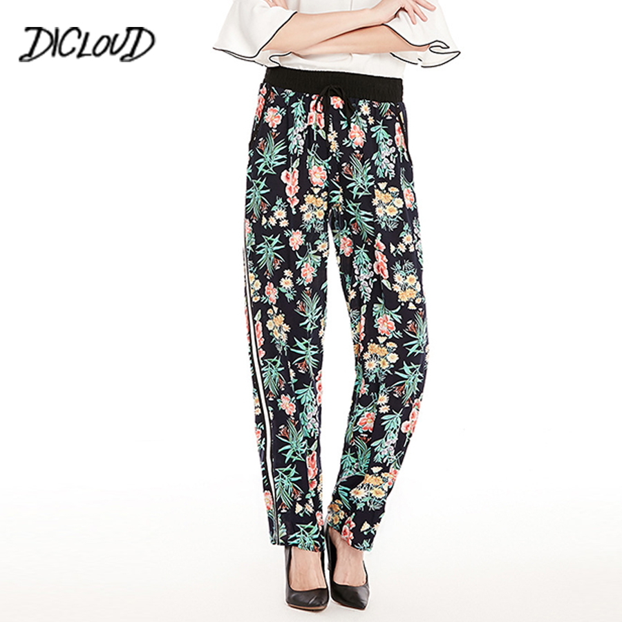 DICLODU 2018 Fashion Printed Casual   Pants   Woman Loose Side Stripe High Waist Trousers Straight   Pants   Women'S Clothing   Capris